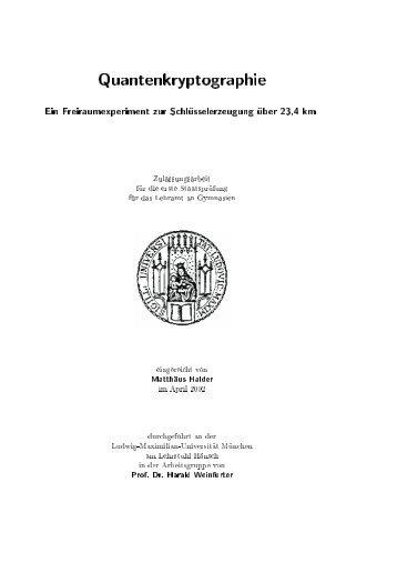 Quantenkryptographie - Experimental Quantum Physics