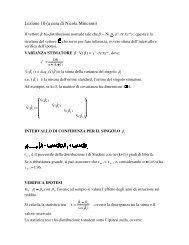 Lezione 10 (a cura di Nicola Mincioni) - Dipartimento di Statistica