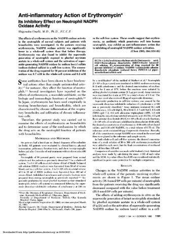 Anti-inflammatory Action of Erythromycin*