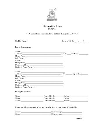 Information Form The Saul And Carole Zabar Nursery School