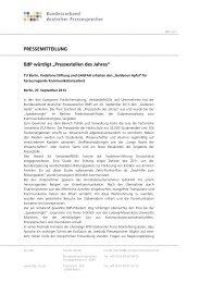 """PRESSEMITTEILUNG BdP würdigt """"Pressestellen des Jahres"""""""
