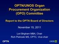 (OPO) Committee Report - Transplant Pro