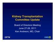 Kidney Committee Report - Transplant Pro