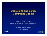Operations & Safety Committee Report - Transplant Pro