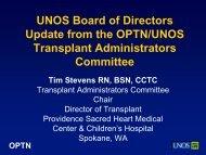 Transplant Administrators Committee Report - Transplant Pro