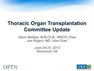 Thoracic Committee Report - Transplant Pro