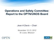 Operations and Safety Committee: Report to the ... - Transplant Pro