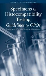 Specimens for Histocompatibility Testing - Organ Procurement and ...