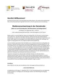 Medienverantwortung in der Demokratie - Netzwerk Berlin