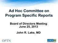 Program Specific Reports Committee Report - Transplant Pro