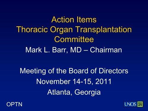 Thoracic Organ Transplantation Committee - Transplant Pro