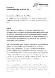 Fairness auf dem Arbeitsmarkt - Netzwerk Berlin