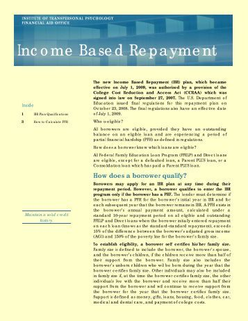 Income-Based Repayment (I