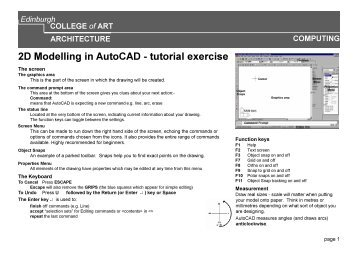 2D Modelling in AutoCAD - tutorial exercise - Edina