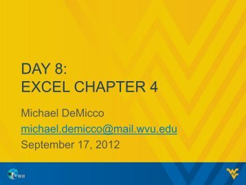 DAY 8: EXCEL CHAPTER 4
