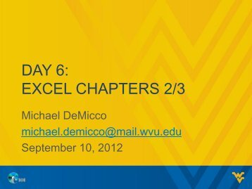 DAY 6: EXCEL CHAPTERS 2/3