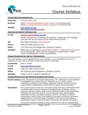 Course Syllabus - Computer Science 101 - West Virginia University