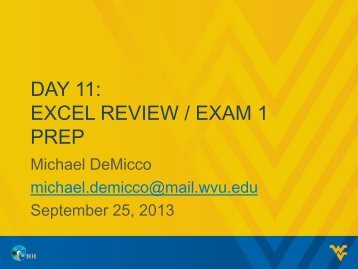 DAY 11: EXCEL REVIEW / EXAM 1 PREP