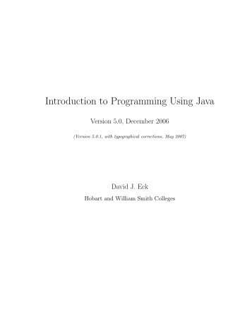 Introduction to Programming Using Java - Department of ...