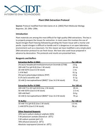 extraction of dna from plant tissues essay