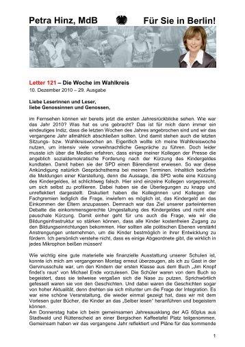 Letter 121 - 10.12.2010 - 29. Ausgabe - Petra Hinz