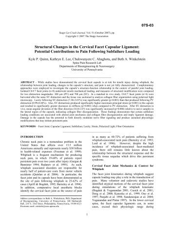 Cervical facet capsular ligament yield defines the threshold for ...