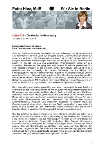 Letter 121 - 15.01.2010 - 1. Ausgabe - Petra Hinz