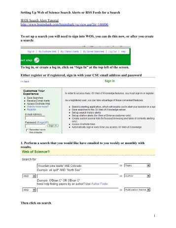 Setting Up Web Of Science Search Alerts Or RSS Feed S For A