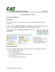 1 ©Computer Applications Training PowerPoint 2007/2010 – Part II ...