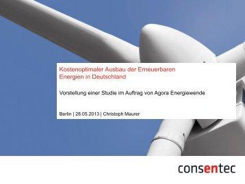 Bewertung von Optimierungsstrategien beim Ausbau Erneuerbarer ...