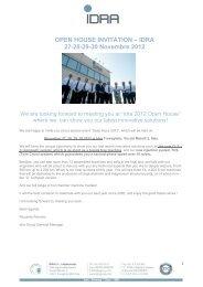 OPEN HOUSE INVITATION – IDRA 27-28-29-30 ... - Idra Group