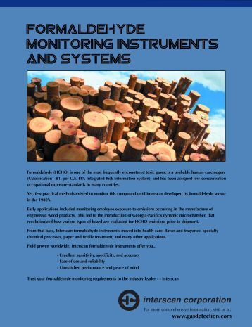 Formaldehyde monitoring instruments and systems - Interscan ...