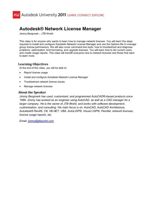 CM3943 - Autodesk® Network License Manager pdf - JTB World