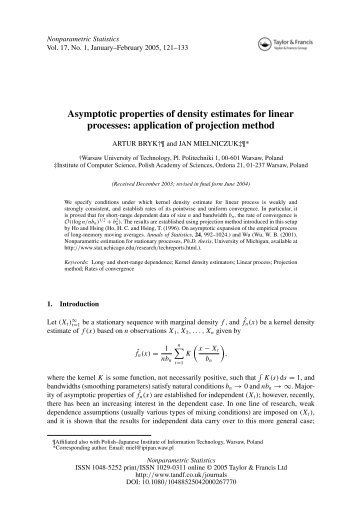 Asymptotic properties of density estimates for linear processes ...