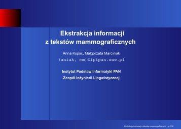 prezentacja PDF - Instytut Podstaw Informatyki PAN