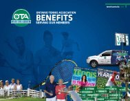 Benefits - Ontario Tennis Association