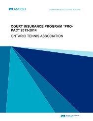 Pro Pac Insurance Program - Ontario Tennis Association