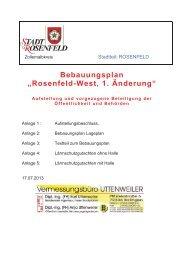 """Bebauungsplan """"Rosenfeld-West, 1. Änderung"""""""