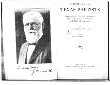 "Excerpt from Book by J. M. Carroll, ""The History of Texas Baptists,"""