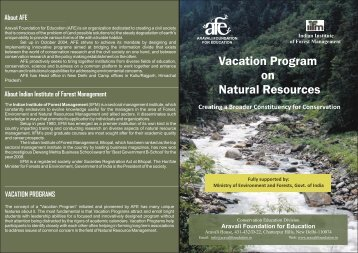 Indian Institute of Forest Management - Aravali Foundation for ...