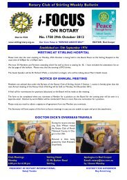 Bulletin 1758 - Rotary Club of Stirling