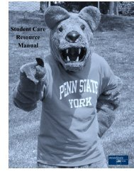 Student Care Resource Manual - Penn State York