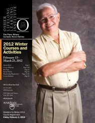 2012 Winter Courses and Activities - Osher Lifelong Learning Institute