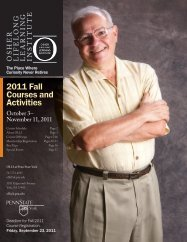 2011 Fall Courses and Activities - Osher Lifelong Learning Institute
