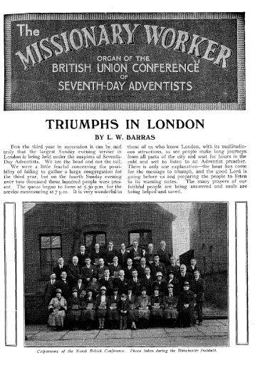 TRIUMPHS IN LONDON - Adventisthistory.org.uk