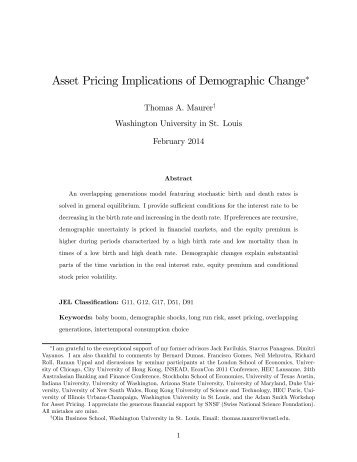 "Asset Pricing Implications of Demographic Change"" - Website of ..."