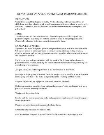 Department Of Public Works Parks Division Foreman Definition   PWANJ