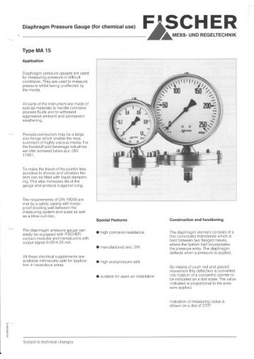 Diaphragm Pressure Gauge (for chemical use ... - FISCHER Mess