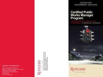 Certified Public Works Manager Program - PWANJ