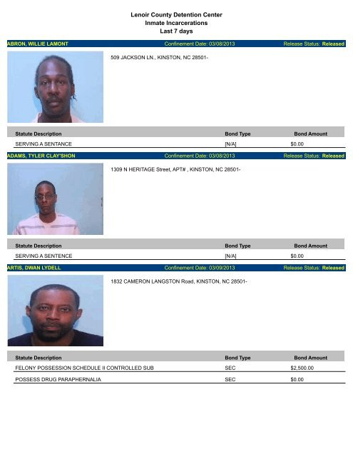 Updated March 13: Mugshots of people arrested in Lenoir County